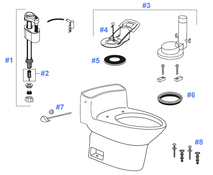 Toto Dorian Toilet Replacement Parts