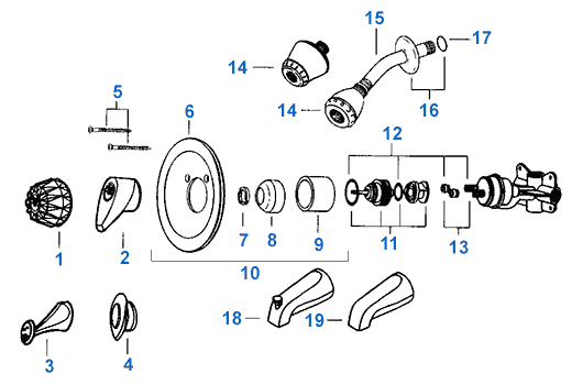 Valley Single Handle Shower Replacement Parts