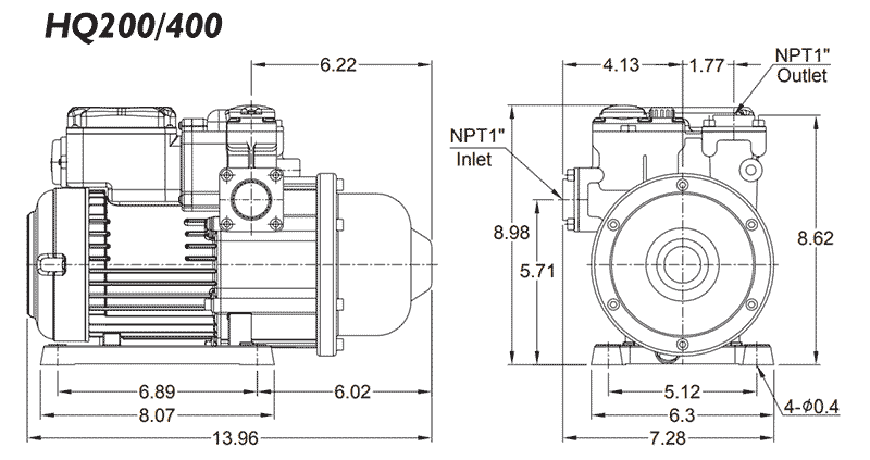 water pump motor wiring diagram three phase booster pumps for boosting pressure view dimensions hq200 and hq400 models
