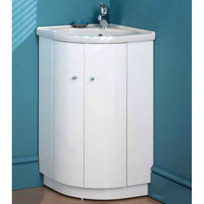 eastbrook bonito 465mm 2 door corner vanity unit with 1 th basin white