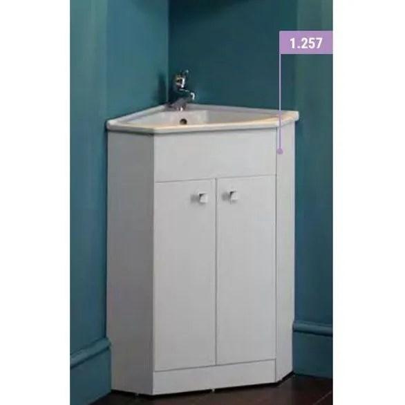 eastbrook diamante 485mm 2 door corner vanity unit with basin white