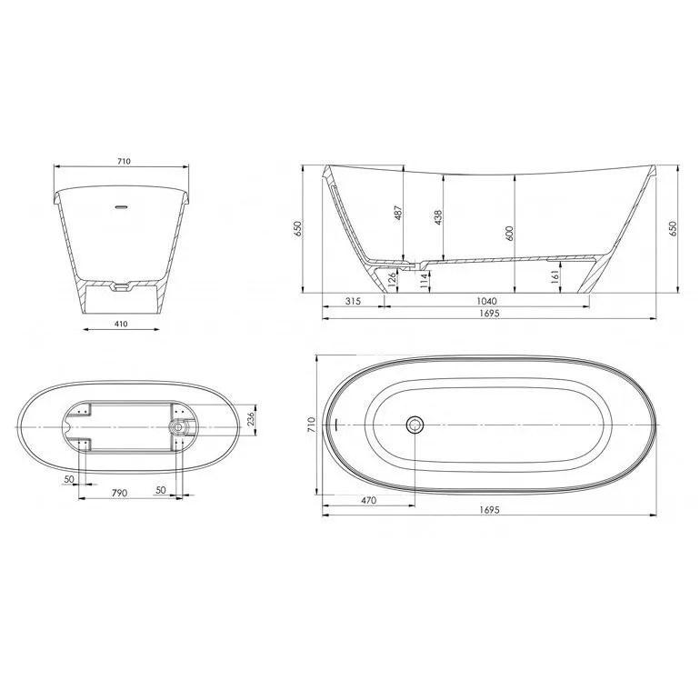 Ramsden & Mosley Arran 1695mm x 710mm Single Ended