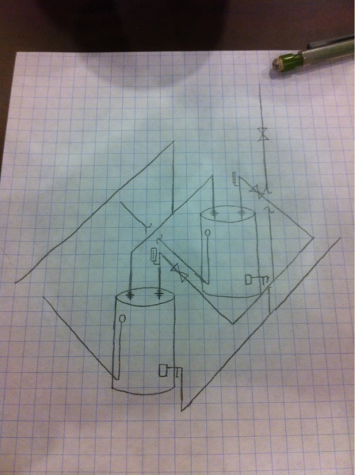 Piping Diagram For One Boiler And Two Storage Tanks