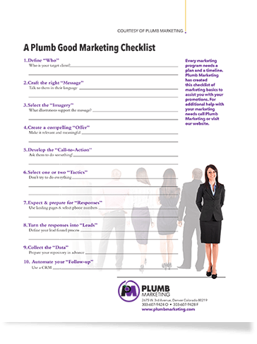 Plumb Marketing Checklist