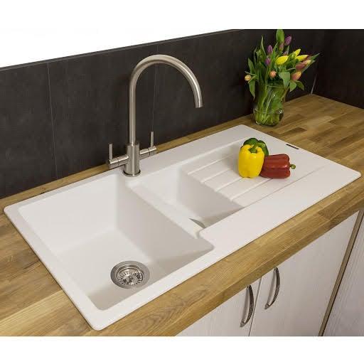 reginox harlem15 pure white granite 1 5 bowl sink with dra