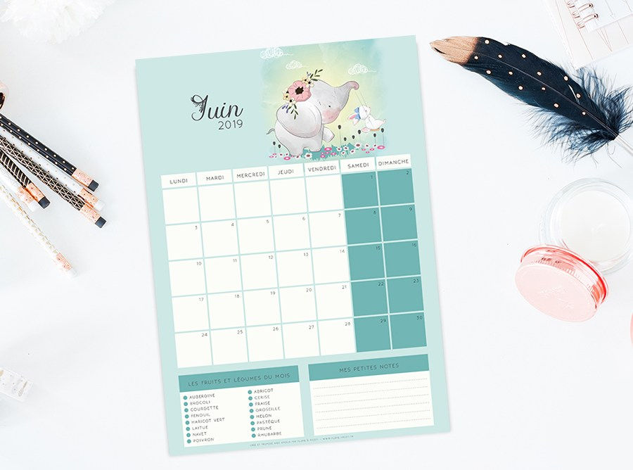 Calendrier de Juin 2019 à imprimer