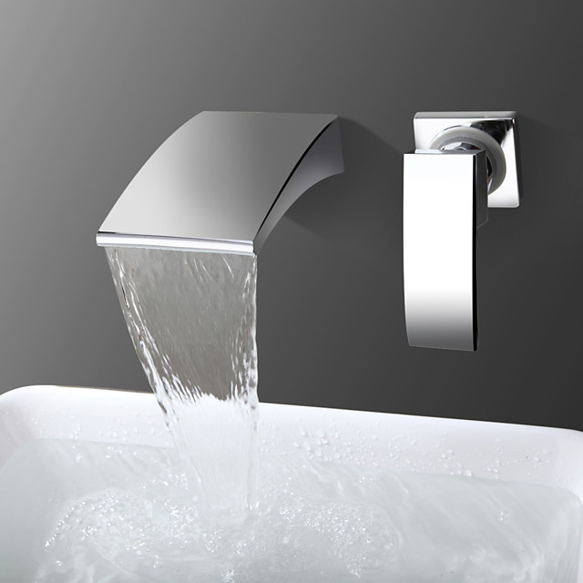 bathroom sink faucet waterfall chrome wall mounted single handle two holes bath faucet