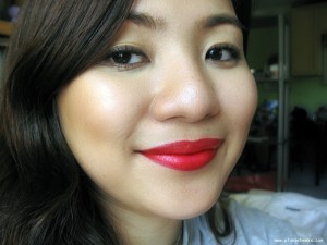 Wearing CoverGirl Lip Perfection Lip Color in Hot Passion