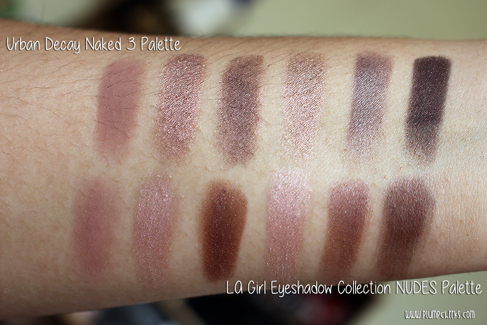 LA Girl Eyeshadow Collection NUDES versus Urban Decay Naked 3 (2)