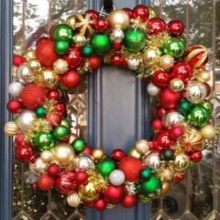 Easy ornament wreath will brighten your front door