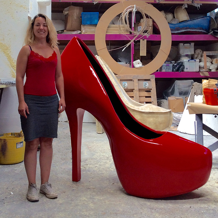 red heel chair zero gravity recliner chairs plunge productions :- giant stiletto heels prop hire
