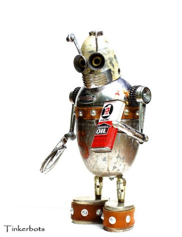 D-5 is a Found Object ~ Assemblage Robot Sculpture by Dan Jones of Tinkerbots. San Diego, CA