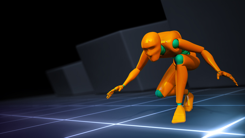 game animation example of a character crouching