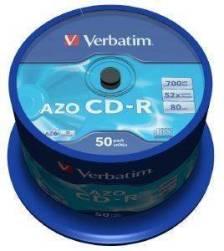 VERBATIM CD-RECORDABLE 80MIN - 700 MB 52X AZO CRYSTAL CAKEBOX 50