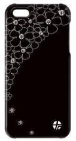 ΘΗΚΗ ΔΕΡΜΑΤΙΝΗ TREXTA APPLE IPHONE 5 CRYSTAL FLOWER BLACK