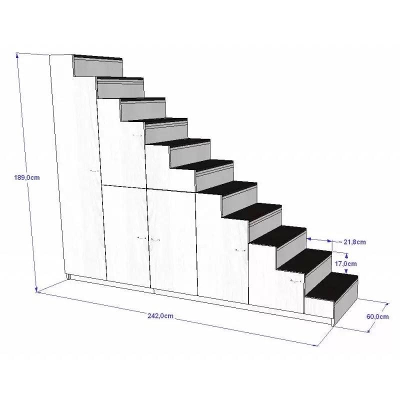 meuble escalier pour mezzanine avec