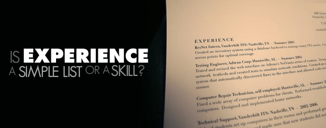 Is Experience listed on a resume a simple list?