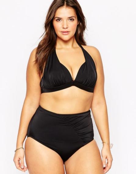Schwarzer Bikini mit hohem Höschen in Plus Size I Asos.de