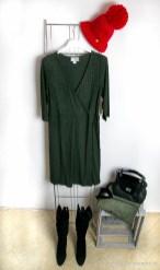 Winterkleid für Curvys in dunklem Khaki - Winter Dress for Curvys in dark khaki