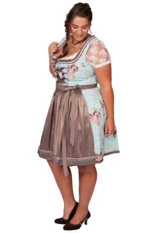 #Dirndl für Curvys in Hellblau & Kupfer