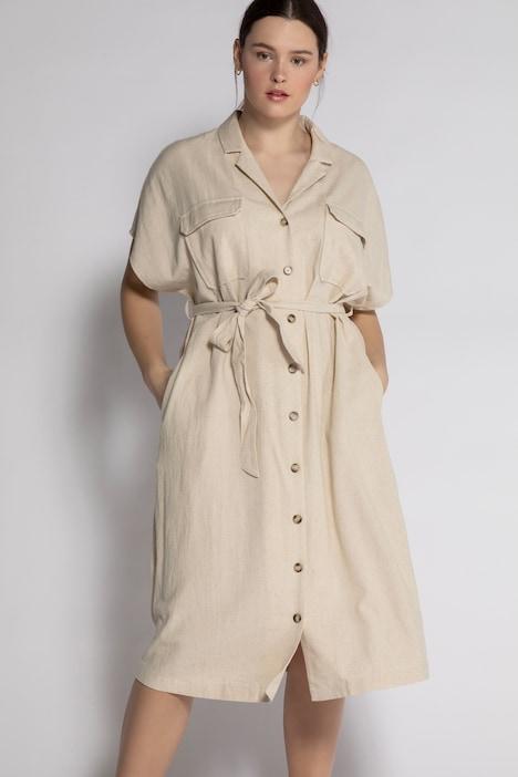 Der Klassiker: Leinenkleid mit Knopfleiste