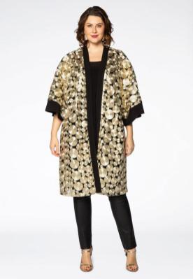 Aufwändige goldene Kreise auf transparentem Grund | Plus Size Kimono von Yoek