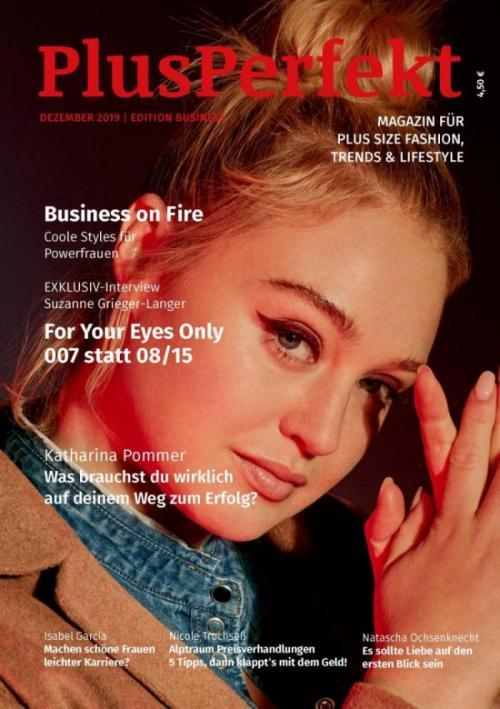 Iskra Lawrence auf dem Titel der PlusPerfekt Edition Business | Credits: Marina Rinaldi | PlusPerfekt