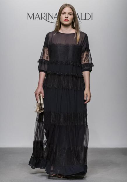 Transparentes Kleid für Curvys in Schwarz | Marina Rinaldi