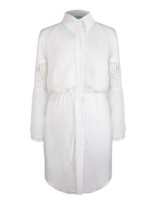Weißes Hemdblusenkleid mit interessanter Ärmellösung