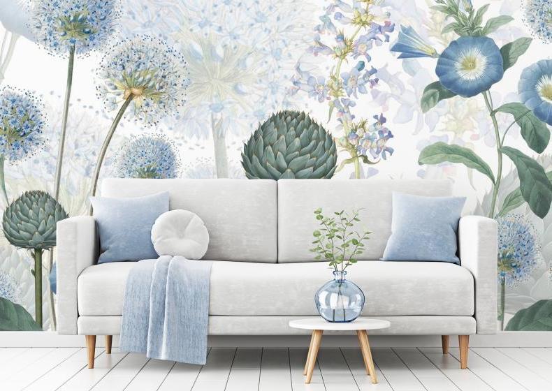 Blaue Wildblumen | Eine Tapete von Wallsauce.com