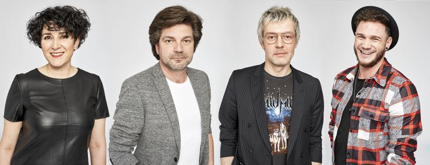 Die Akteure der Frisurenmode Sommer 2021: (v.l.n.r.): Sebahat Yilmaz-Bader, Art Director Antonio Weinitschke, stellvertretender Art Director Steven Meth und Mattis Baatz.