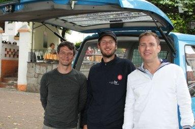 Moderator Jens Kölker, Kameramann Johannes Metzger und Tontechniker Enrico Leube (von rechts nach links)