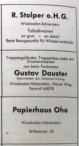 Anzeige von Stolper und Oho in einer Festschrift aus dem Jahre 1949