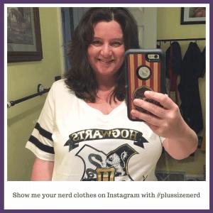 Woman wearing a Hogwarts t-shirt