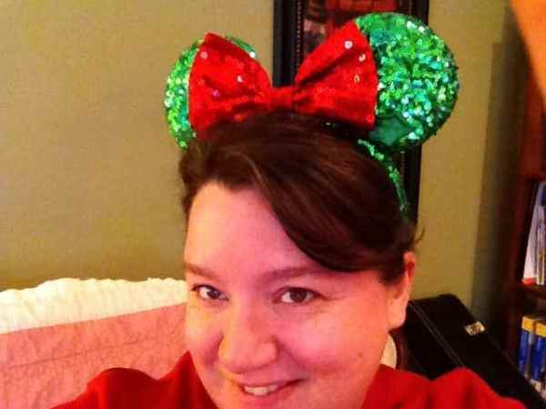 Nancy Basile in Holly Jolly Minnie Mouse Ears