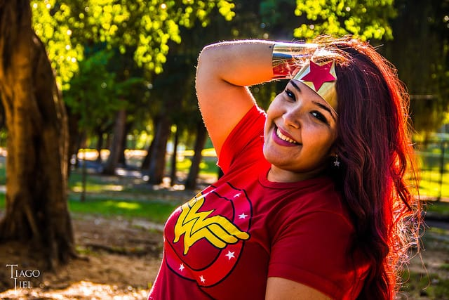 Woman dressed in Wonder Woman t-shirt and tiara