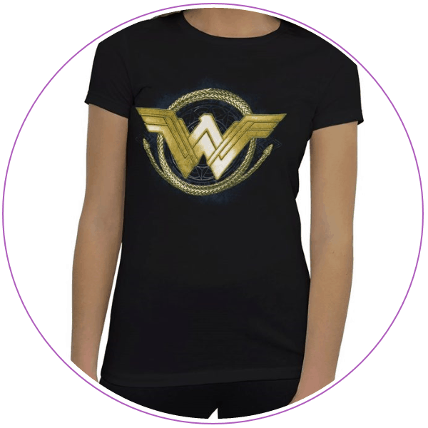 Plus Size Wonder Woman Gold Logo and Lasso T-shirt