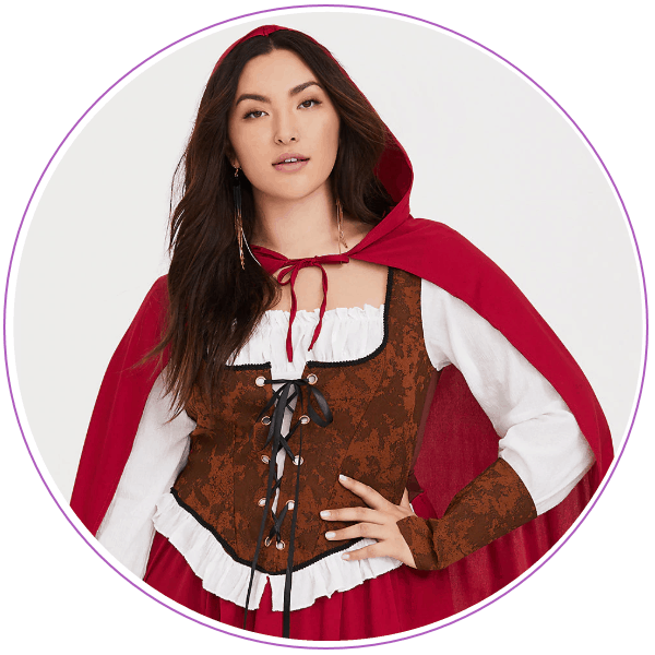 Woman in red riding hood costume