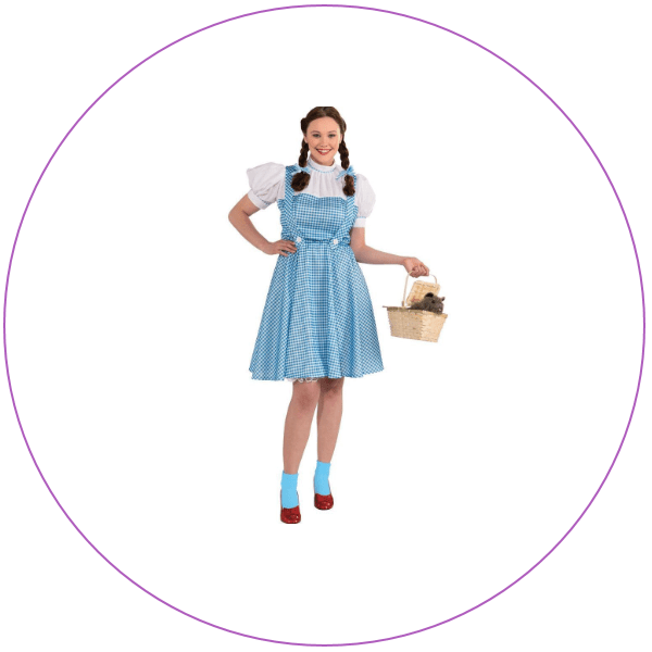 Woman wearing dress from Dorothy in Wizard of Oz