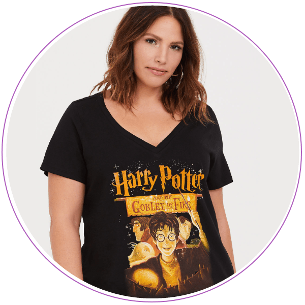 Woman wearing t-shirt with book cover for Harry Potter and the Goblet of Fire