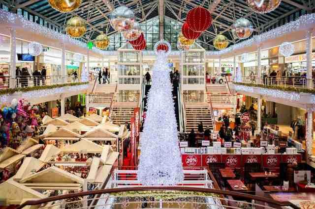 A mall at Christmas time