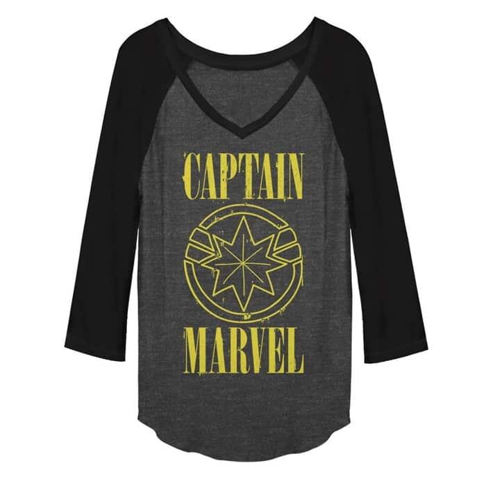 Plus Size Captain Marvel Baseball Shirt