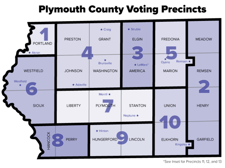Plymouth County, Iowa voting precincts as of 2012.