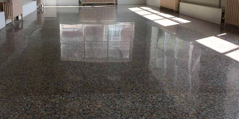A neglected terrazzo floor restored and transformed  P Mac