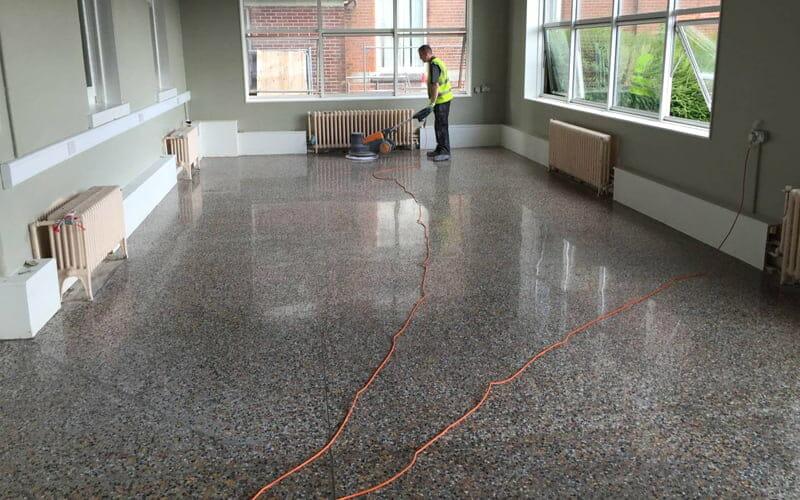 A neglected terrazzo floor restored and transformed  P Mac