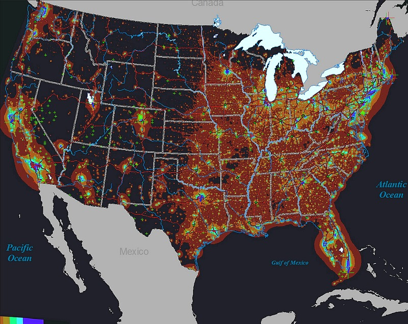 Artificial Night Sky Brightness Light Pollution Around The World - Us light pollution map