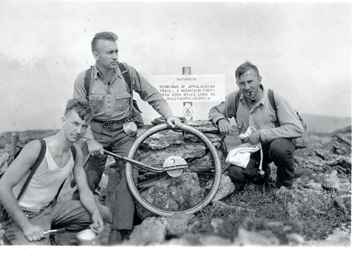 Myron Avery on Katahdin with a measuring well. From the Maine Appalachian Trail Club.