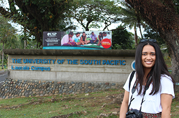 Alistar Star on assignment for Pacific Scoop at the University of the South Pacific campus in Fiji. Image: Star Kata