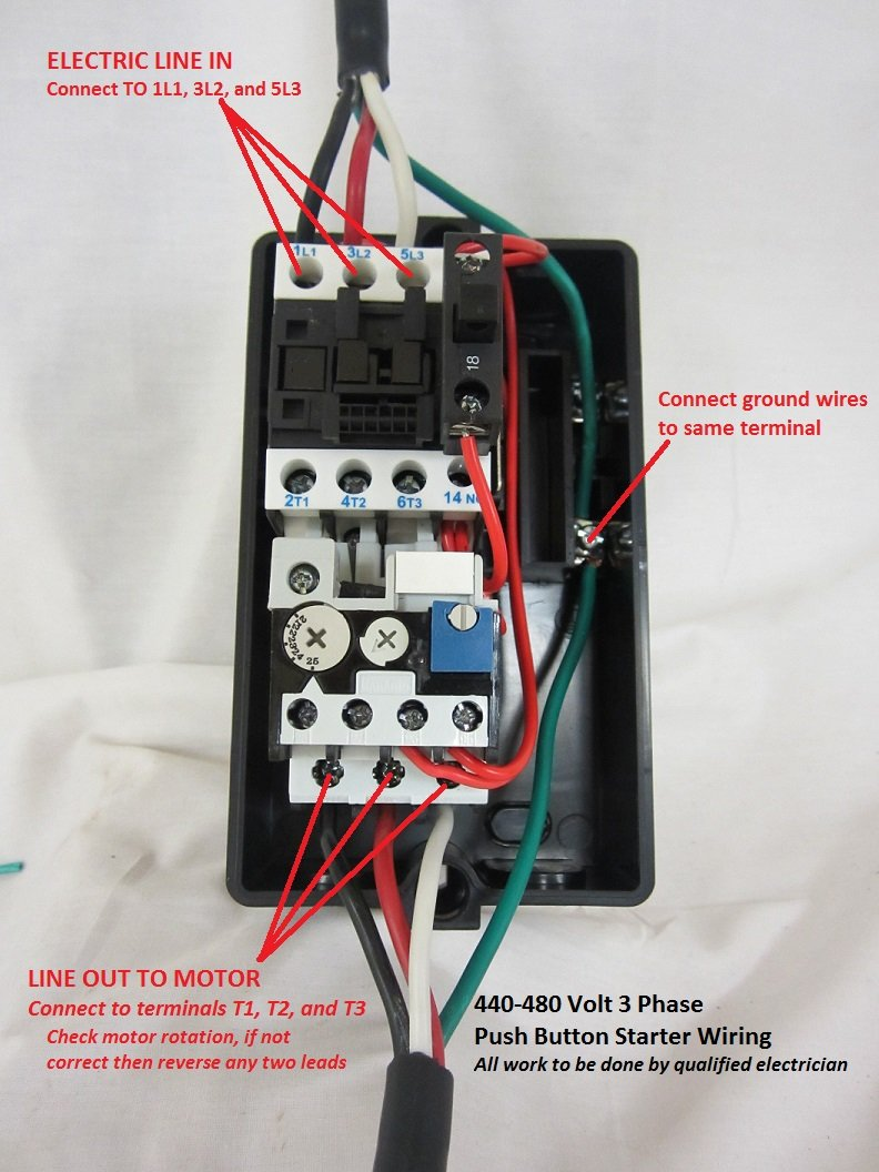 medium resolution of wiring instructions for 440 480 volt 3 phase models ms1 45 ms1 55 and ms1 65 here wiring instructions to wire magnetic starter to air compressor