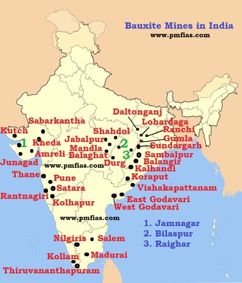Bauxite Distribution in India - Bauxite in India